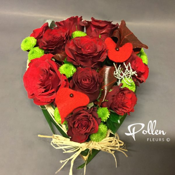 Coeur de rose composition romantique