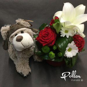Peluche pour bébé et fleur pour maman livraison à la maternité