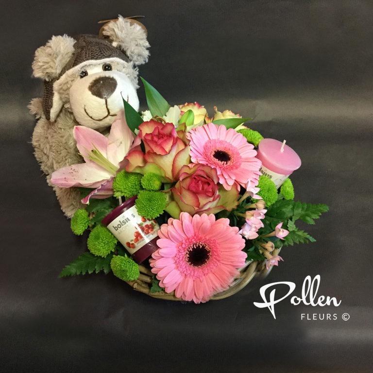 Ensemble fleurs bougies et peluche pour naissance et anniversaire