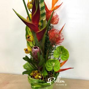 Composition de fleurs exotiques dans les teintes chatoyantes avec orchidées et anthuriums